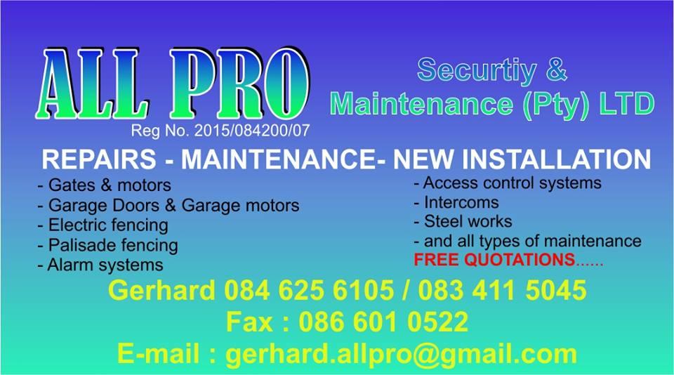 All Pro Security and Maintenance - Pretoria
