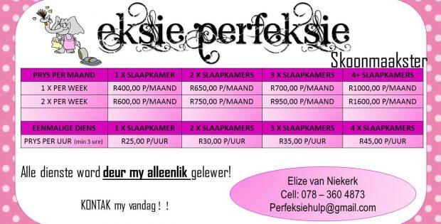 Eksie Perfeksie Skoonmaakster - Doornpoort Pretoria