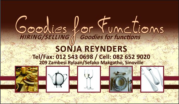 Goodies for Functions - Sinoville - Decor Hire